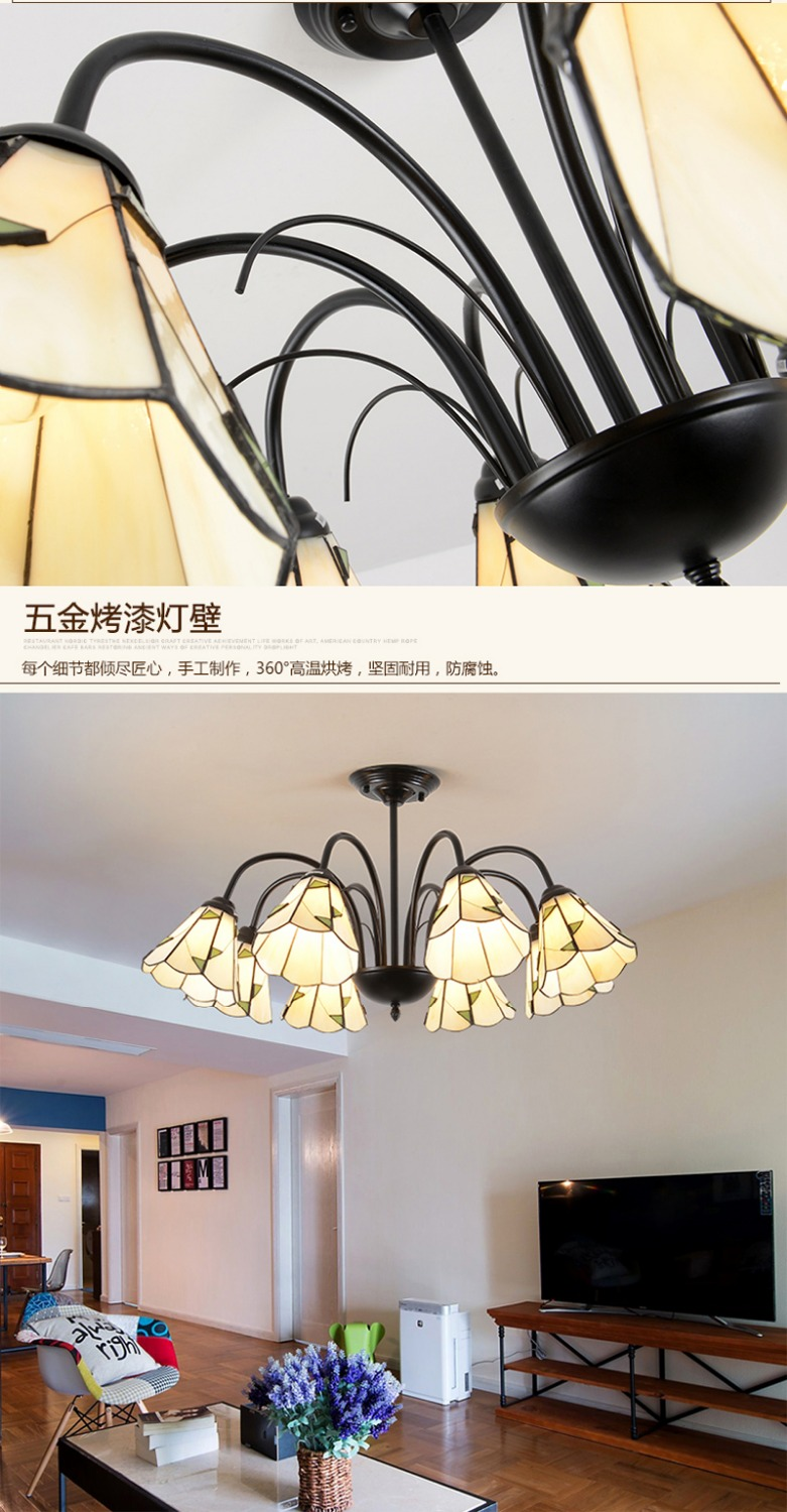 Antique colored glass Kitchen lighting chandelier for Bar Restaurant showcase arts & crafts Lighting Lampadario Moderno LED E27
