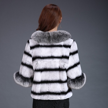 Lady Real Print Rex Rabbit Fur Jacket Coat Fox Fur Collar Autumn Winter Women Fur Trench Outerwear Coats Plus Size VF4052