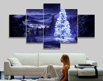 5 Pieces/set Modern Home Decoration Christmas Aesthetic moving LED Tree Picture Painting Print On Canvas Painting