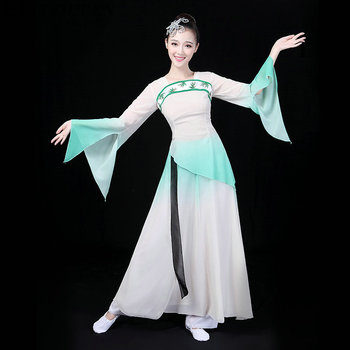 Traditional Chinese folk dance oriental Chinese dance costume women sleeve national costume hanfu clothing performance DD373 F