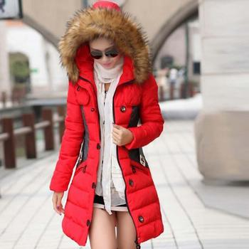 Nice Women Down Jacket Winter Jacket Female Parka Fur Collar Thickening Cotton Padded Winter Coat Manteau Femme 1PC