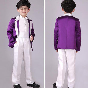 5 pieces boys Weeding Party suits Costumes children's Ballroom Jazz dancing Outfits for boys (jacket+pants+shirt+bow tie+belt)
