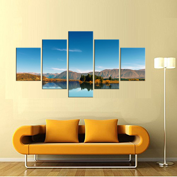 5 Pieces Beautiful autumn tree lakes and mountains the picture Canvas Print Painting Art work decorative painting Framed