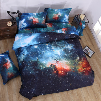 2017 3D Galaxy Bedding Set Twin/Queen Universe Outer Space Themed Duvet Cover Flat Sheet Pillowcase 2pcs/3pcs/4pcs